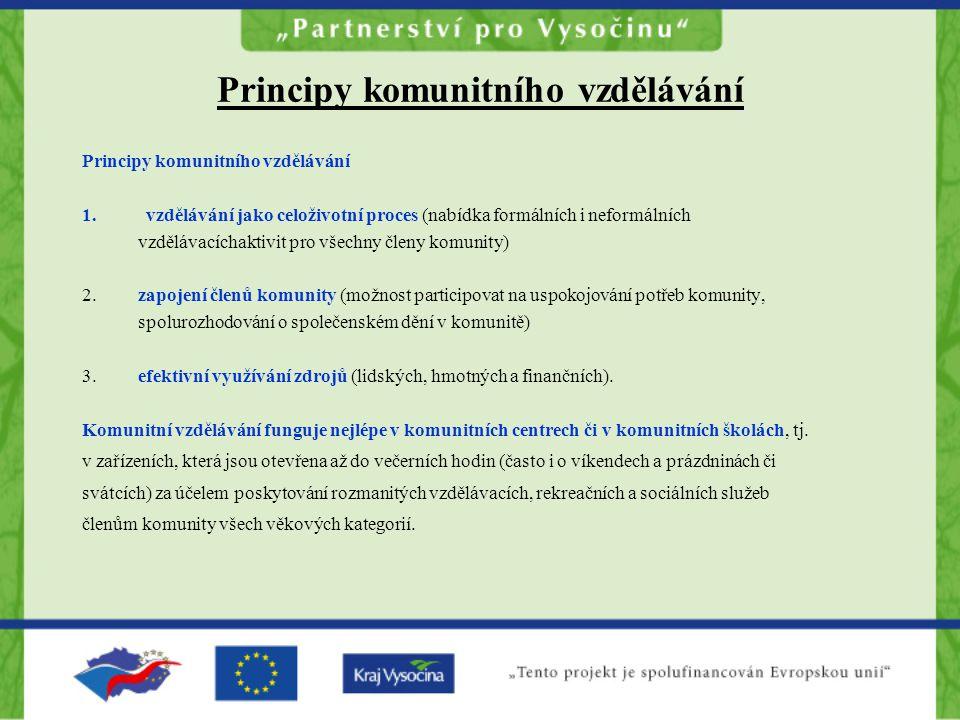 Principy komunitního vzdělávání 1.vzdělávání jako celoživotní proces (nabídka formálních i neformálních vzdělávacíchaktivit pro všechny členy komunity) 2.
