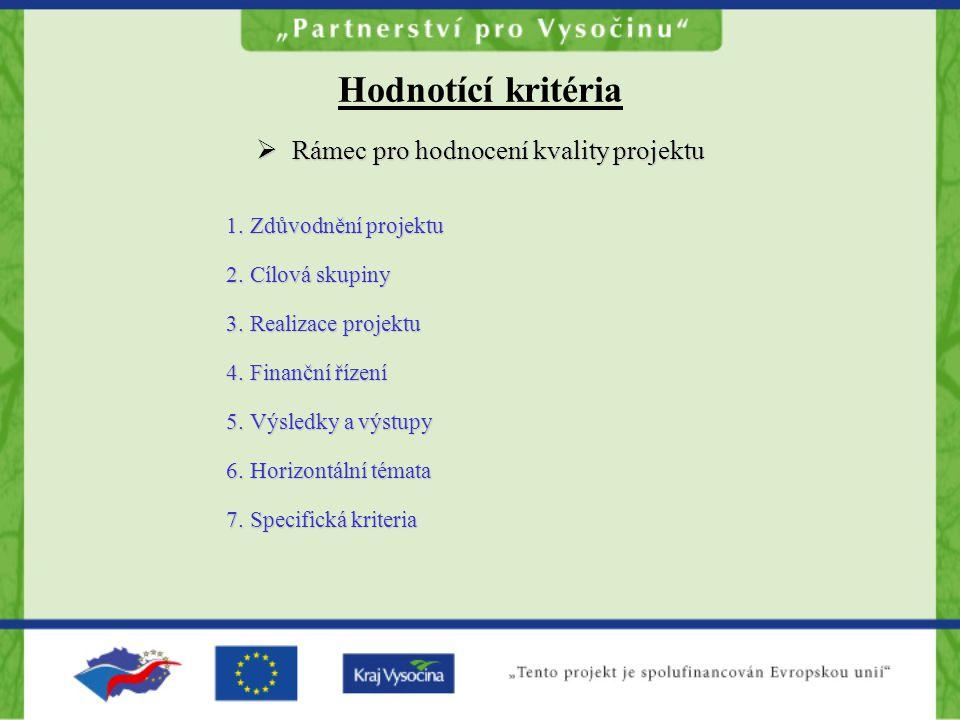  Rámec pro hodnocení kvality projektu 1.Zdůvodnění projektu 2.Cílová skupiny 3.Realizace projektu 4.Finanční řízení 5.Výsledky a výstupy 6.Horizontální témata 7.Specifická kriteria Hodnotící kritéria