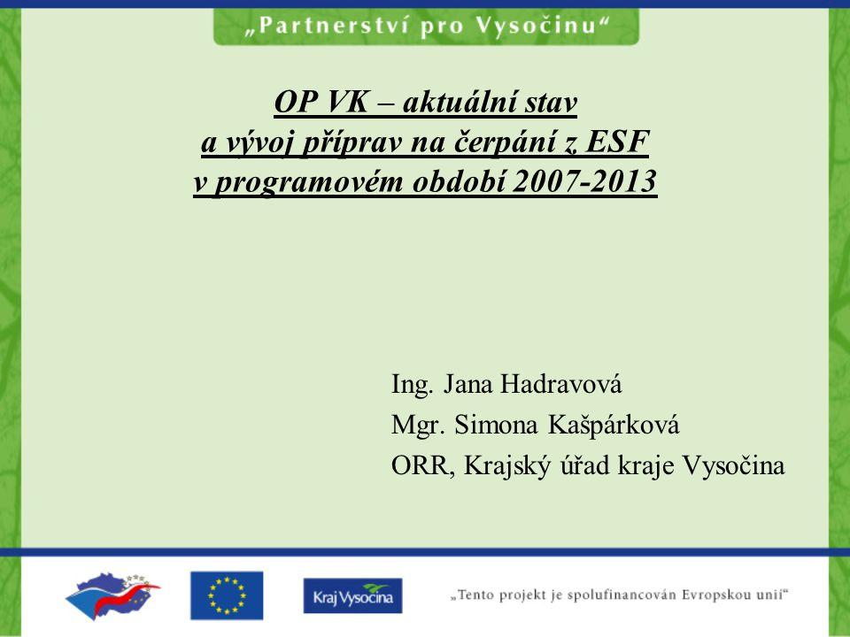 OP VK – aktuální stav a vývoj příprav na čerpání z ESF v programovém období 2007-2013 Ing. Jana Hadravová Mgr. Simona Kašpárková ORR, Krajský úřad kra