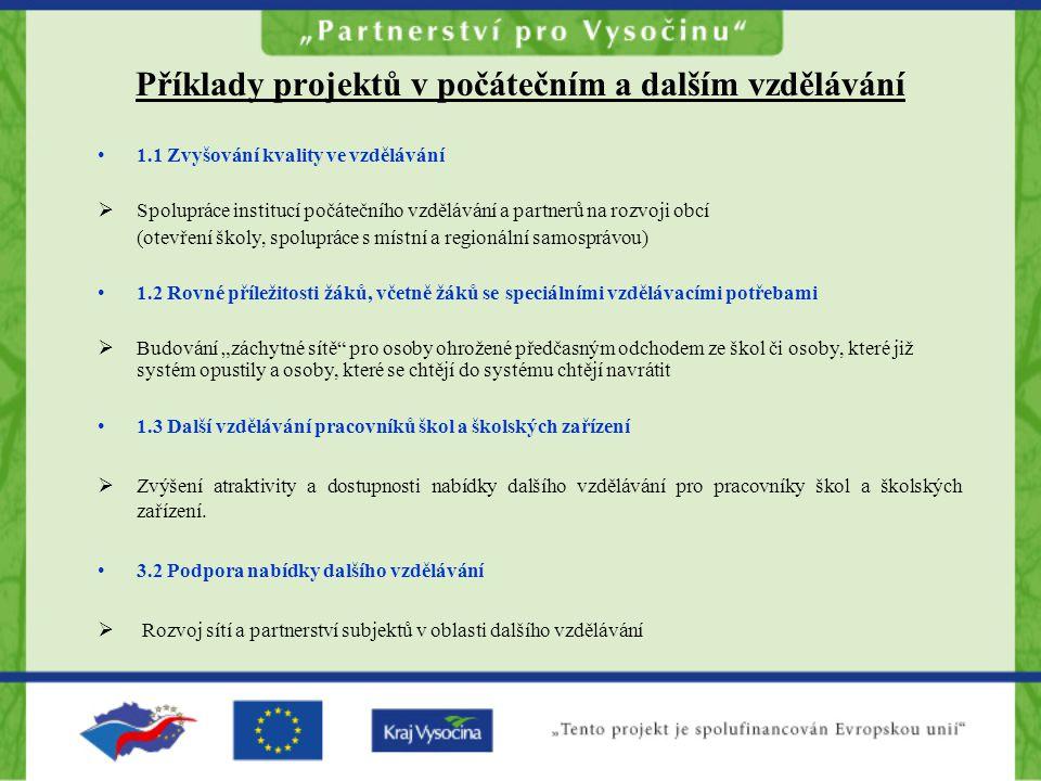 Příklady projektů v počátečním a dalším vzdělávání 1.1 Zvyšování kvality ve vzdělávání  Spolupráce institucí počátečního vzdělávání a partnerů na roz