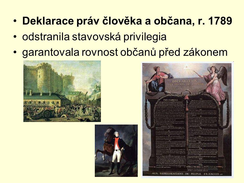 Deklarace práv člověka a občana, r. 1789 odstranila stavovská privilegia garantovala rovnost občanů před zákonem
