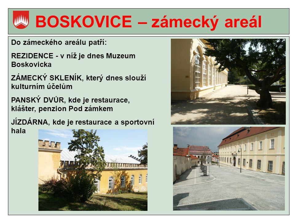 BOSKOVICE – zámecký areál Do zámeckého areálu patří: REZIDENCE - v níž je dnes Muzeum Boskovicka ZÁMECKÝ SKLENÍK, který dnes slouží kulturním účelům PANSKÝ DVŮR, kde je restaurace, klášter, penzion Pod zámkem JÍZDÁRNA, kde je restaurace a sportovní hala