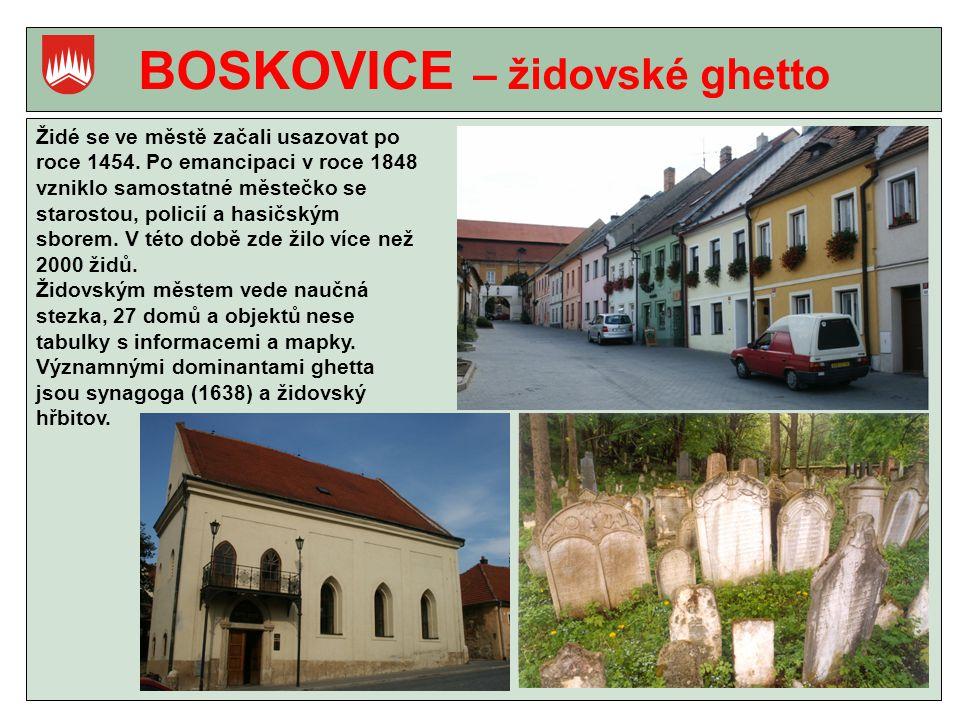 BOSKOVICE – židovské ghetto Židé se ve městě začali usazovat po roce 1454.