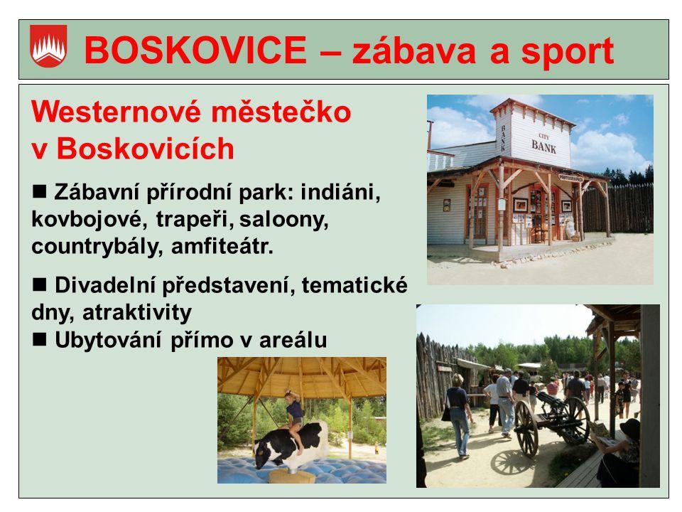 BOSKOVICE – zábava a sport Westernové městečko v Boskovicích Zábavní přírodní park: indiáni, kovbojové, trapeři, saloony, countrybály, amfiteátr.
