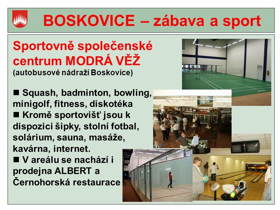 BOSKOVICE – zábava a sport Sportovně společenské centrum MODRÁ VĚŽ (autobusové nádraží Boskovice) Squash, badminton, bowling, minigolf, fitness, diskotéka Kromě sportovišť jsou k dispozici šipky, stolní fotbal, solárium, sauna, masáže, kavárna, internet.