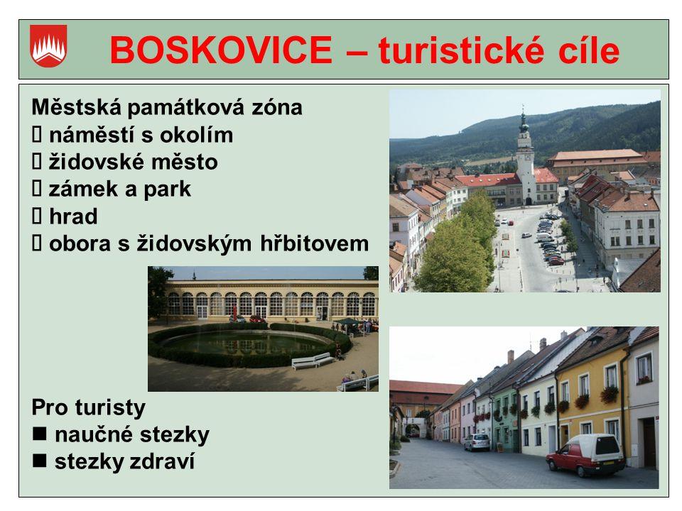 BOSKOVICE – turistické cíle Městská památková zóna  náměstí s okolím  židovské město  zámek a park  hrad  obora s židovským hřbitovem Pro turisty naučné stezky stezky zdraví