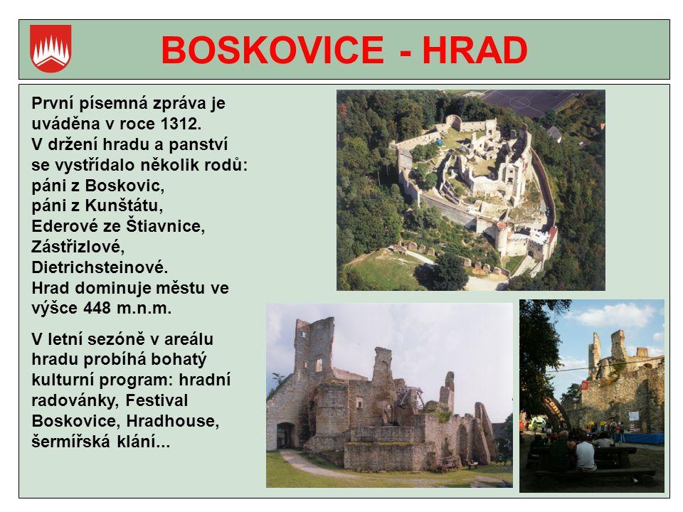 BOSKOVICE - HRAD První písemná zpráva je uváděna v roce 1312.
