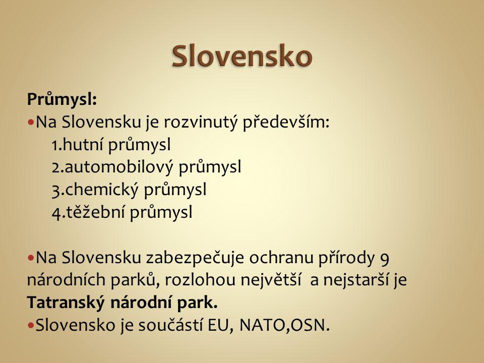Průmysl: Na Slovensku je rozvinutý především: 1.hutní průmysl 2.automobilový průmysl 3.chemický průmysl 4.těžební průmysl Na Slovensku zabezpečuje ochranu přírody 9 národních parků, rozlohou největší a nejstarší je Tatranský národní park.
