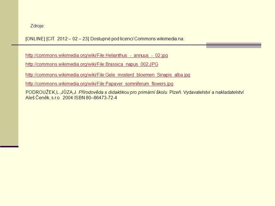 Zdroje: http://commons.wikimedia.org/wiki/File:Helianthus_-_annuus_-_02.jpg http://commons.wikimedia.org/wiki/File:Brassica_napus_002.JPG http://commo