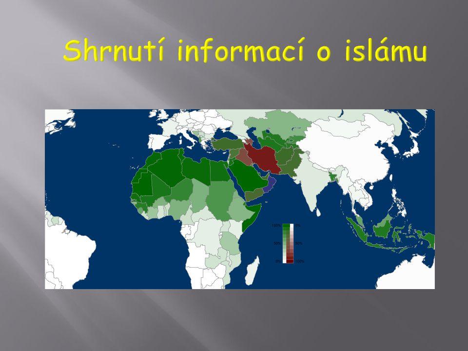  V současnosti přibližně 1 400 000 000 muslimů, většinově: Arabský poloostrov, Blízký východ, severní Afrika, střední Asie, indická kulturní oblast,