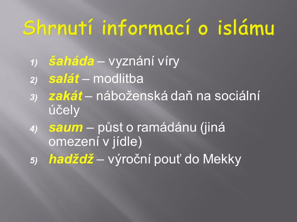 menšina: chalífa (imám) má být z Muhammadovy rodiny, strana Álího (arabsky ší´a Álí), Muhammadova synovce, odtud výraz ší'ité, 15 – 20% muslimů, vět
