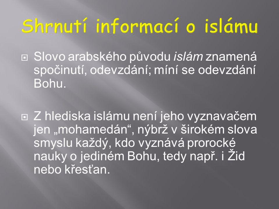 1) Shrnutí informací o islámu 2) Islámská kultura jako plod dialogu 3) Islámský fundamentalismus 4) Súfismus jako tradiční aktér vztahů k jiným nábože