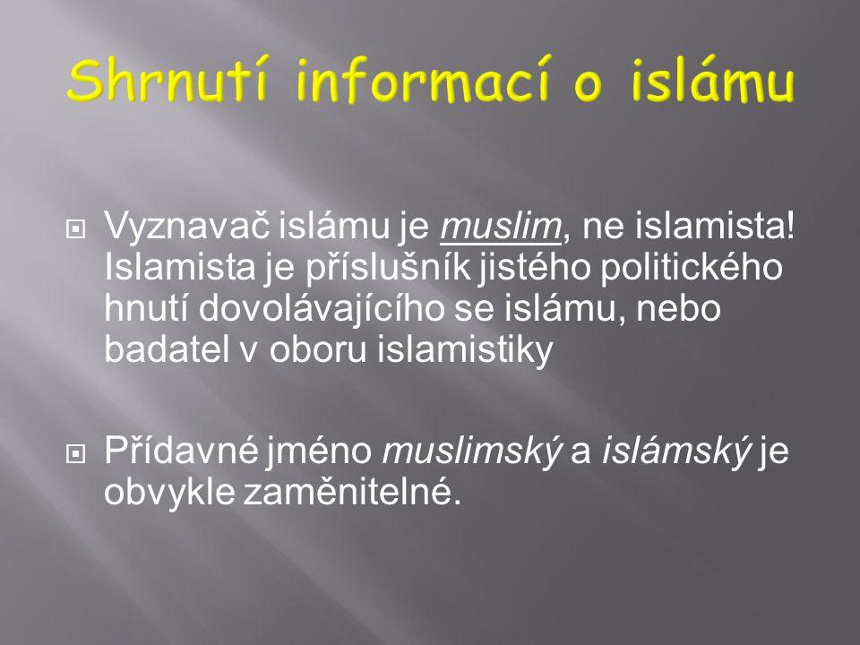 """ Slovo arabského původu islám znamená spočinutí, odevzdání; míní se odevzdání Bohu.  Z hlediska islámu není jeho vyznavačem jen """"mohamedán"""", nýbrž v"""