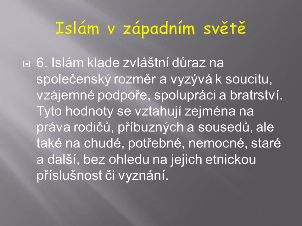  5. Islám ctí lidské bytosti. Tato úcta se vztahuje na všechny Adamovy potomky bez rozdílu, jak mužské, tak ženské. Na základě této úcty by měly lids