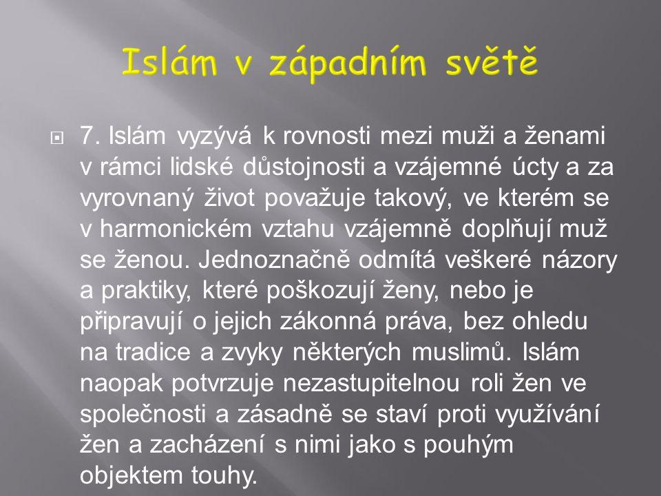  6. Islám klade zvláštní důraz na společenský rozměr a vyzývá k soucitu, vzájemné podpoře, spolupráci a bratrství. Tyto hodnoty se vztahují zejména n