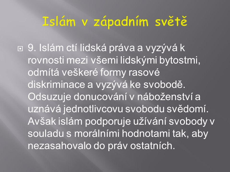  7. Islám vyzývá k rovnosti mezi muži a ženami v rámci lidské důstojnosti a vzájemné úcty a za vyrovnaný život považuje takový, ve kterém se v harmon