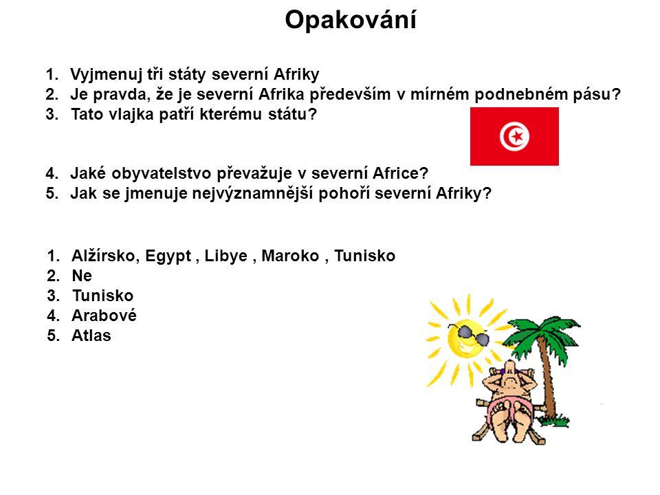 Opakování 1.Vyjmenuj tři státy severní Afriky 2.Je pravda, že je severní Afrika především v mírném podnebném pásu? 3.Tato vlajka patří kterému státu?