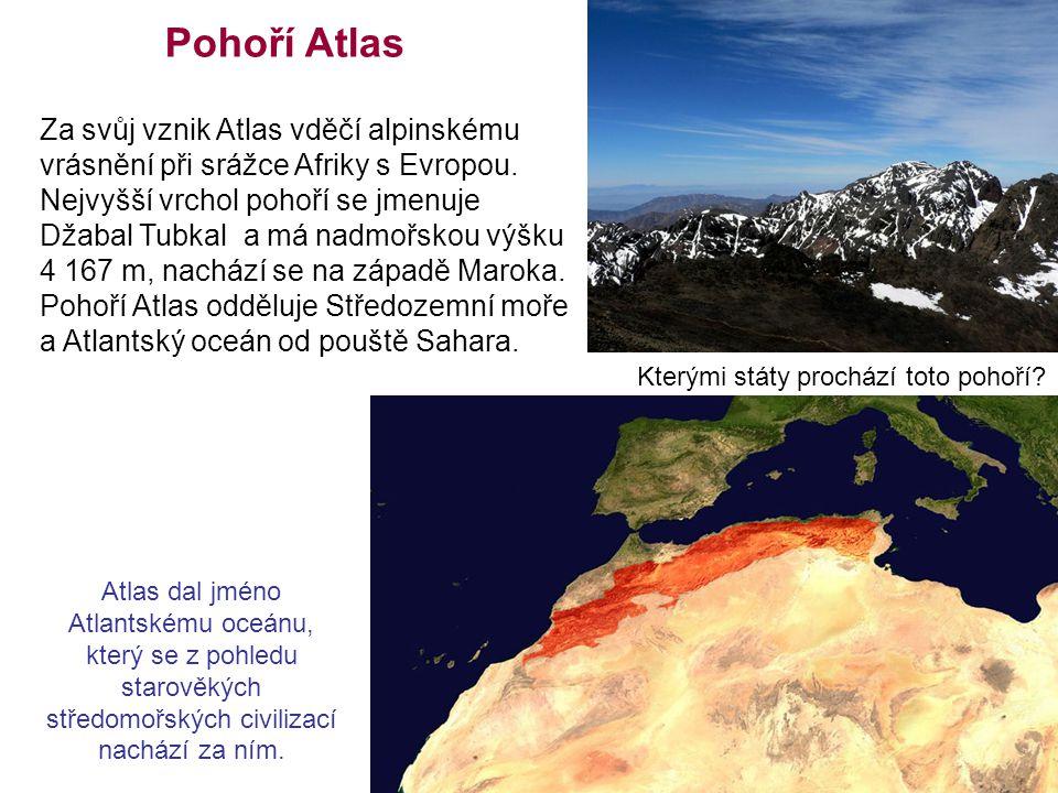 Pohoří Atlas Atlas dal jméno Atlantskému oceánu, který se z pohledu starověkých středomořských civilizací nachází za ním. Za svůj vznik Atlas vděčí al