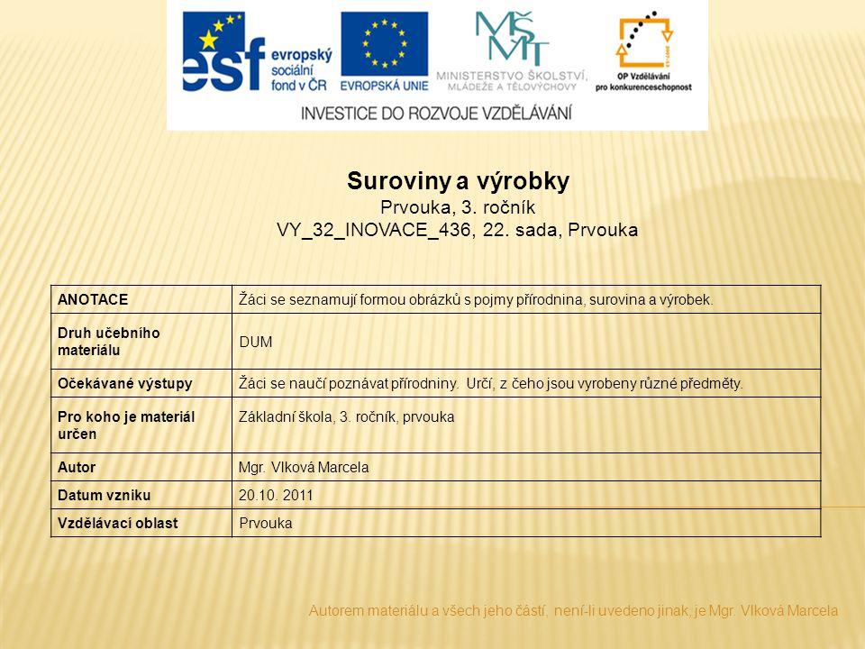 Suroviny a výrobky Prvouka, 3. ročník VY_32_INOVACE_436, 22. sada, Prvouka ANOTACEŽáci se seznamují formou obrázků s pojmy přírodnina, surovina a výro