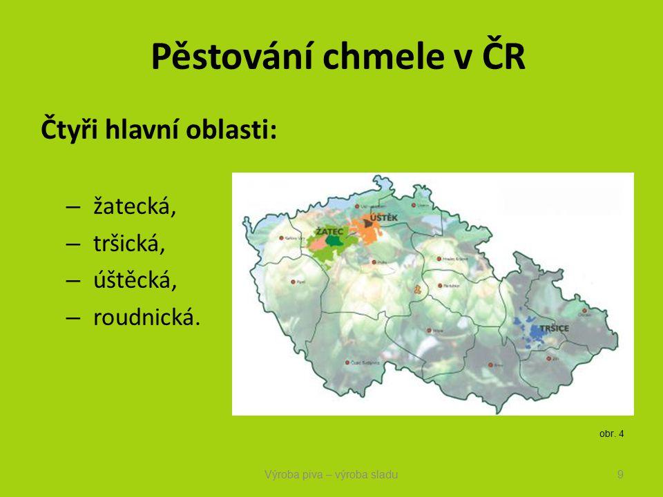 Pěstování chmele v ČR Čtyři hlavní oblasti: – žatecká, – tršická, – úštěcká, – roudnická.