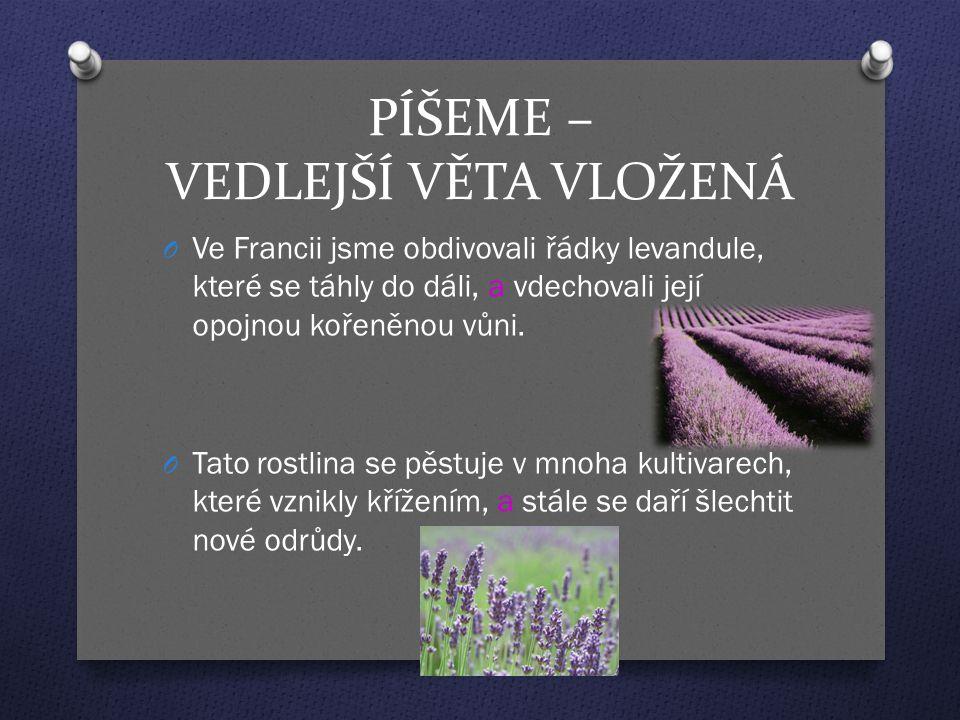PÍŠEME – VEDLEJŠÍ VĚTA VLOŽENÁ O Ve Francii jsme obdivovali řádky levandule, které se táhly do dáli, a vdechovali její opojnou kořeněnou vůni. O Tato