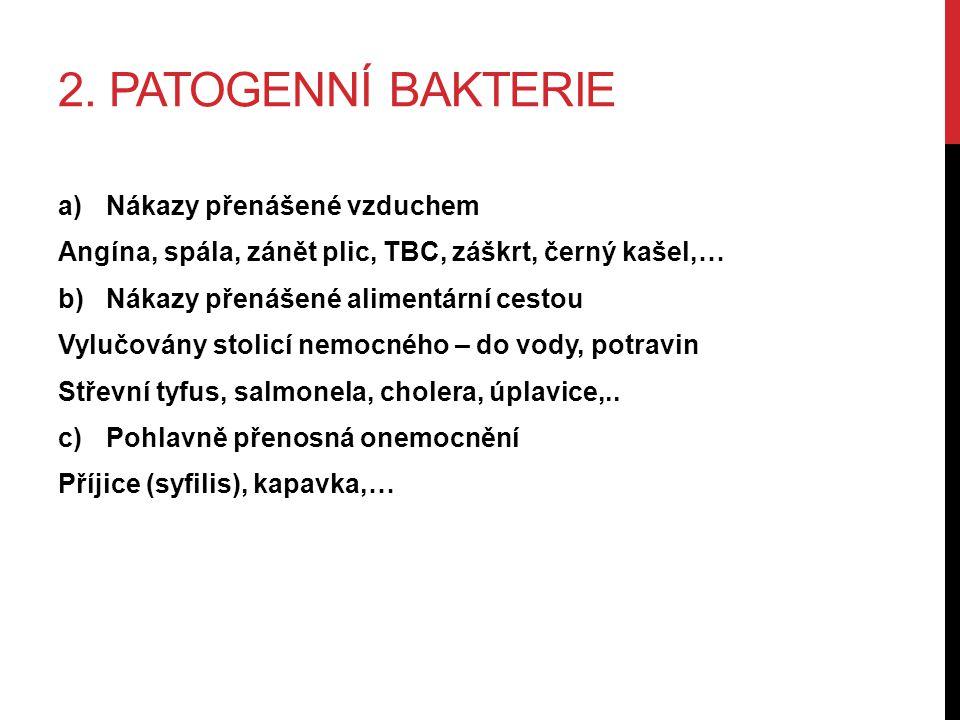 2. PATOGENNÍ BAKTERIE a)Nákazy přenášené vzduchem Angína, spála, zánět plic, TBC, záškrt, černý kašel,… b)Nákazy přenášené alimentární cestou Vylučová