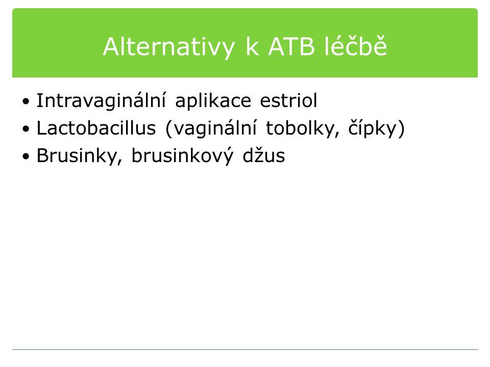 Alternativy k ATB léčbě Intravaginální aplikace estriol Lactobacillus (vaginální tobolky, čípky) Brusinky, brusinkový džus