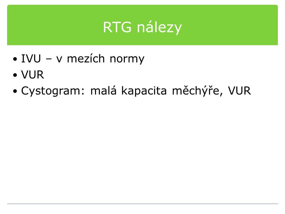RTG nálezy IVU – v mezích normy VUR Cystogram: malá kapacita měchýře, VUR