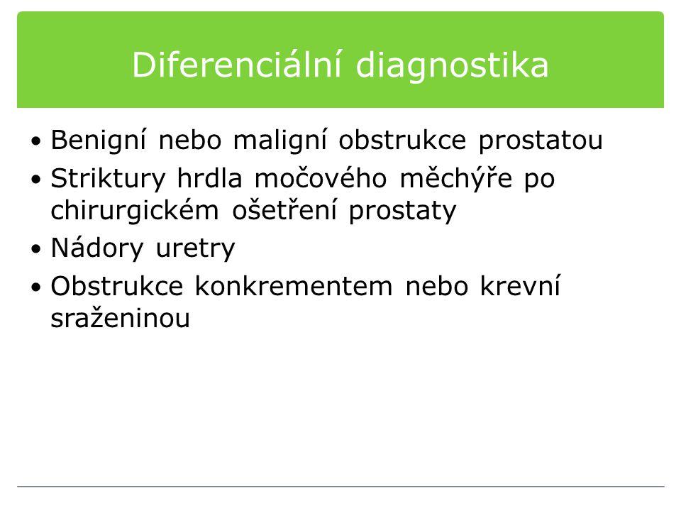 Diferenciální diagnostika Benigní nebo maligní obstrukce prostatou Striktury hrdla močového měchýře po chirurgickém ošetření prostaty Nádory uretry Ob