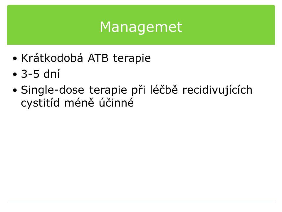 Managemet Krátkodobá ATB terapie 3-5 dní Single-dose terapie při léčbě recidivujících cystitíd méně účinné
