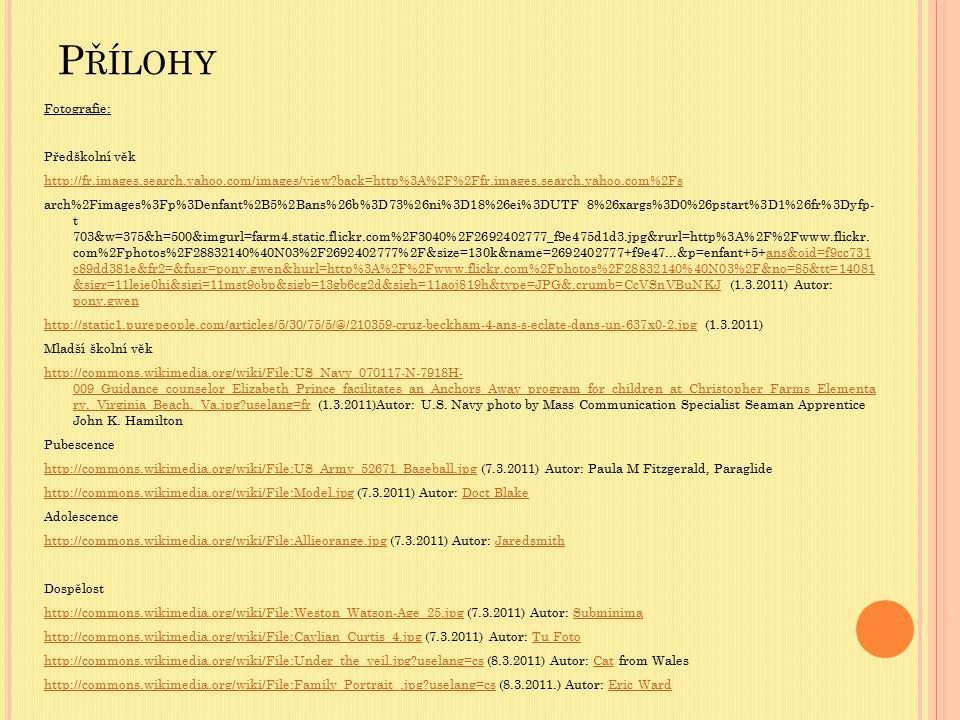 P ŘÍLOHY Fotografie: Předškolní věk http://fr.images.search.yahoo.com/images/view?back=http%3A%2F%2Ffr.images.search.yahoo.com%2Fs arch%2Fimages%3Fp%3
