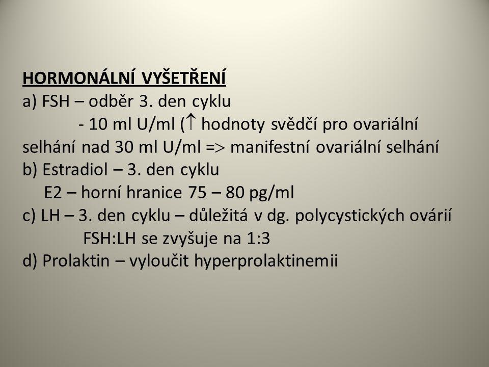 HORMONÁLNÍ VYŠETŘENÍ a) FSH – odběr 3.