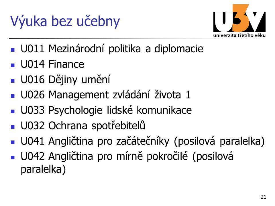21 Výuka bez učebny U011 Mezinárodní politika a diplomacie U014 Finance U016 Dějiny umění U026 Management zvládání života 1 U033 Psychologie lidské komunikace U032 Ochrana spotřebitelů U041 Angličtina pro začátečníky (posilová paralelka) U042 Angličtina pro mírně pokročilé (posilová paralelka)