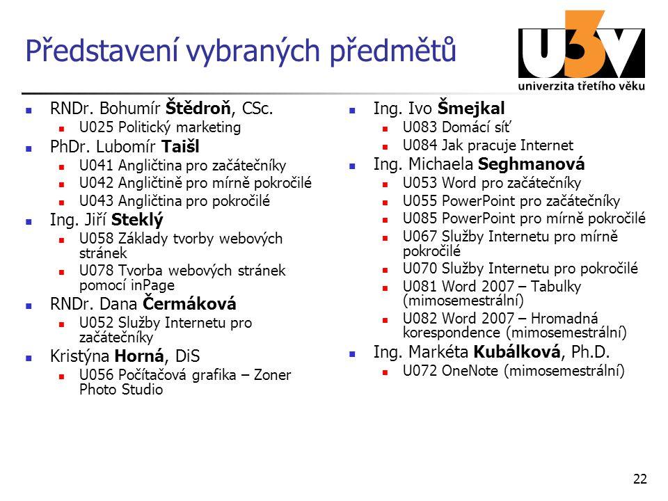 22 Představení vybraných předmětů RNDr. Bohumír Štědroň, CSc. U025 Politický marketing PhDr. Lubomír Taišl U041 Angličtina pro začátečníky U042 Anglič