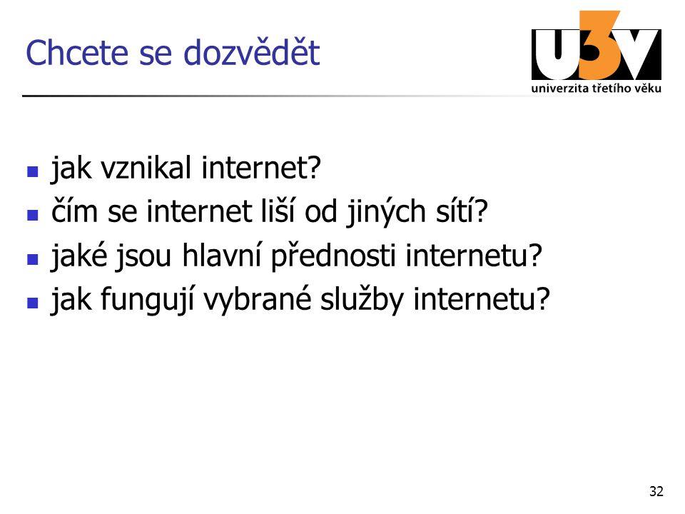32 Chcete se dozvědět jak vznikal internet? čím se internet liší od jiných sítí? jaké jsou hlavní přednosti internetu? jak fungují vybrané služby inte