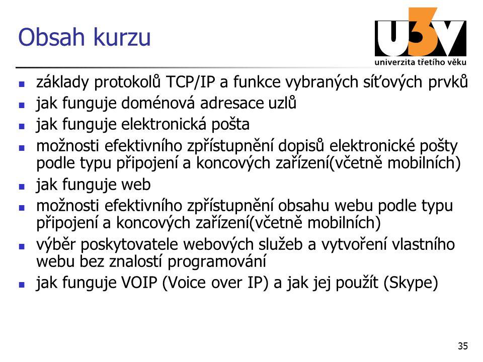 35 Obsah kurzu základy protokolů TCP/IP a funkce vybraných síťových prvků jak funguje doménová adresace uzlů jak funguje elektronická pošta možnosti e