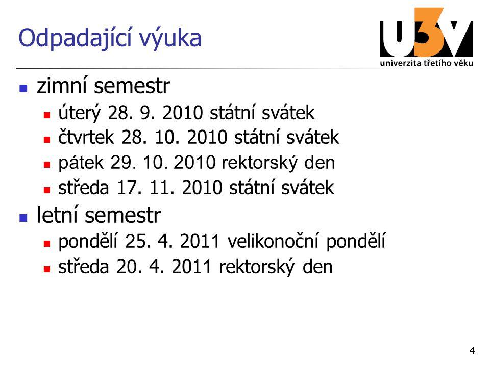 44 Odpadající výuka zimní semestr úterý 28. 9. 2010 státní svátek čtvrtek 28.