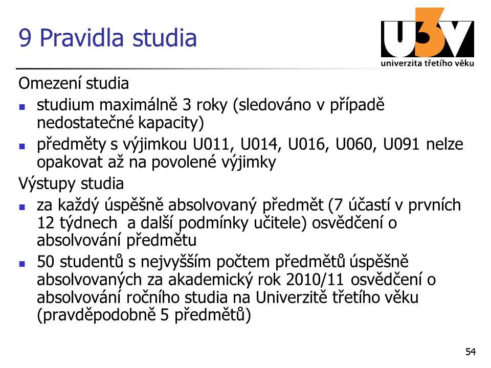 54 9 Pravidla studia Omezení studia studium maximálně 3 roky (sledováno v případě nedostatečné kapacity) předměty s výjimkou U011, U014, U016, U060, U