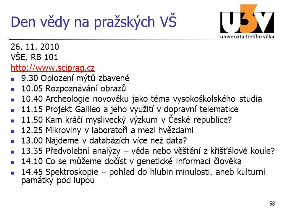 Den vědy na pražských VŠ 26. 11. 2010 VŠE, RB 101 http://www.sciprag.cz 9.30 Oplození mýtů zbavené 10.05 Rozpoznávání obrazů 10.40 Archeologie novověk
