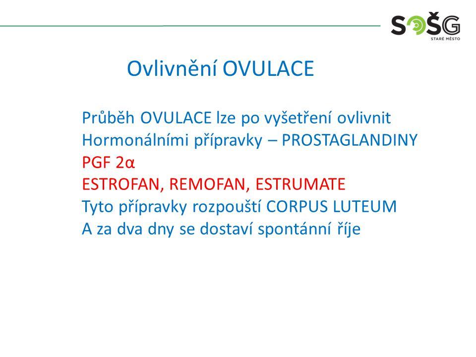 Ovlivnění OVULACE Průběh OVULACE lze po vyšetření ovlivnit Hormonálními přípravky – PROSTAGLANDINY PGF 2α ESTROFAN, REMOFAN, ESTRUMATE Tyto přípravky