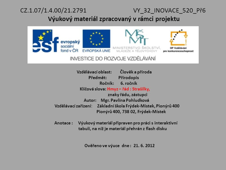 CZ.1.07/1.4.00/21.2791VY_32_INOVACE_520_Př6 Výukový materiál zpracovaný v rámci projektu Vzdělávací oblast: Člověk a příroda Předmět: Přírodopis Roční