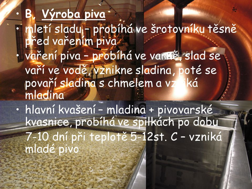 B, Výroba piva mletí sladu – probíhá ve šrotovníku těsně před vařením piva vaření piva – probíhá ve varně, slad se vaří ve vodě, vznikne sladina, poté se povaří sladina s chmelem a vzniká mladina hlavní kvašení – mladina + pivovarské kvasnice, probíhá ve spilkách po dobu 7-10 dní při teplotě 5-12st.