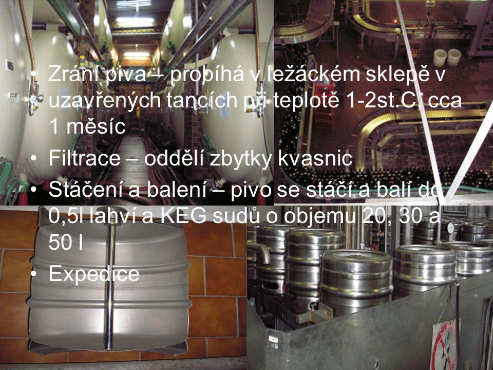 Zrání piva – probíhá v ležáckém sklepě v uzavřených tancích při teplotě 1-2st.C, cca 1 měsíc Filtrace – oddělí zbytky kvasnic Stáčení a balení – pivo