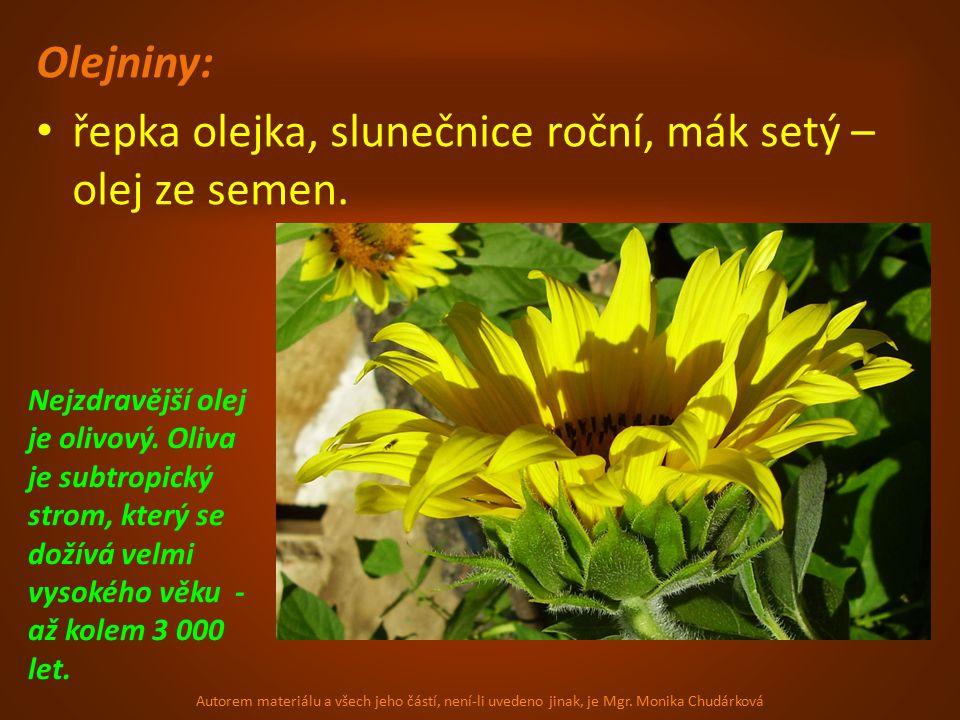 Olejniny: řepka olejka, slunečnice roční, mák setý – olej ze semen.