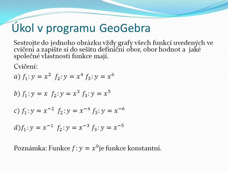 Úkol v programu GeoGebra
