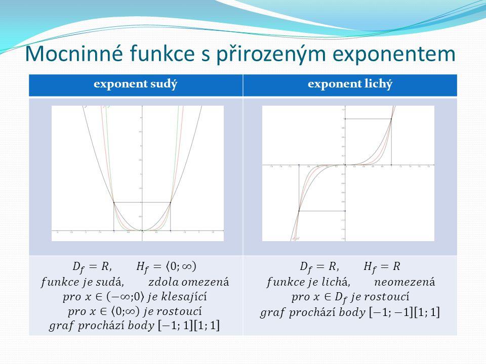Mocninné funkce s přirozeným exponentem exponent sudýexponent lichý