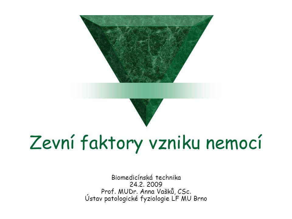 Zevní faktory vzniku nemocí Biomedicínská technika 24.2. 2009 Prof. MUDr. Anna Vašků, CSc. Ústav patologické fyziologie LF MU Brno