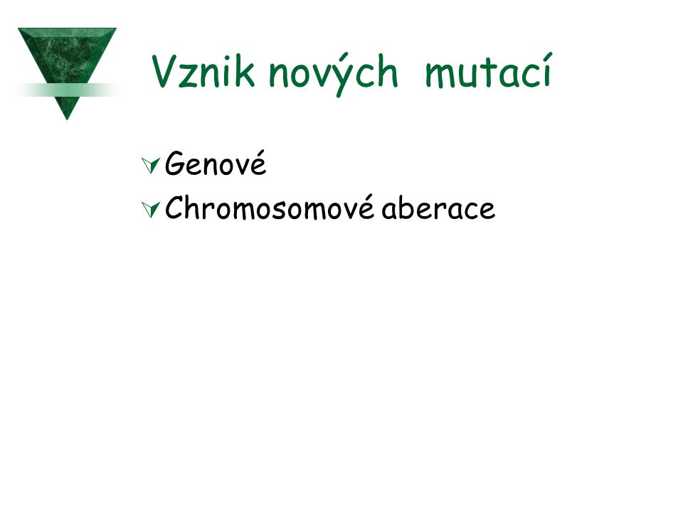 Vznik nových mutací  Genové  Chromosomové aberace