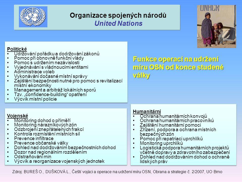 Funkce operací na udržení míru OSN od konce studené války Zdroj: BUREŠ O., DUŠKOVÁ L., Čeští vojáci a operace na udržení míru OSN, Obrana a strategie