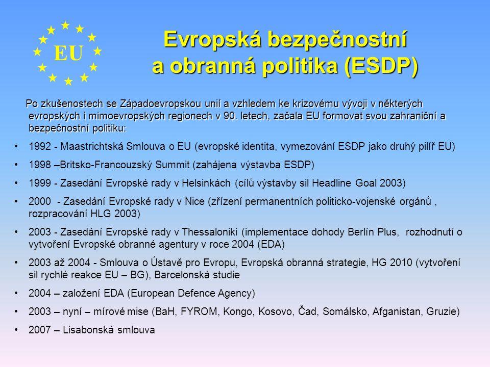 EU Evropská bezpečnostní a obranná politika (ESDP) Po zkušenostech se Západoevropskou unií a vzhledem ke krizovému vývoji v některých evropských i mim